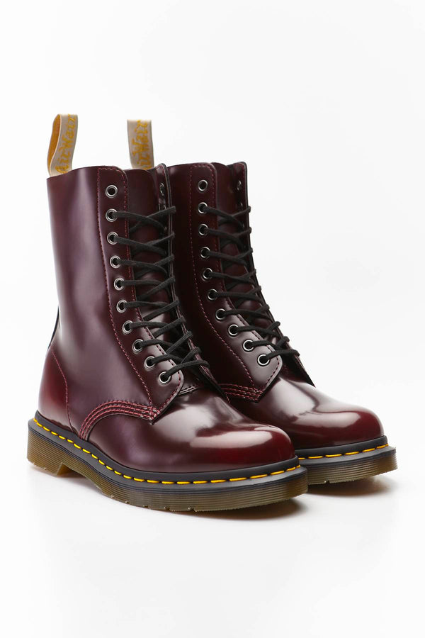 #00045  Dr.Martens încălțăminte, încălțăminte peste gleznă VEGAN 1490 OXFORD BRUSH CHERRY RED CAMBRIDGE BRUSH