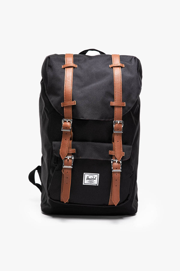 #00005  Herschel genți și rucsacuri, rucsac PLECAK 17 L Little America Mid-Volume -  10020-00001 Black/Tan Synthetic Leather