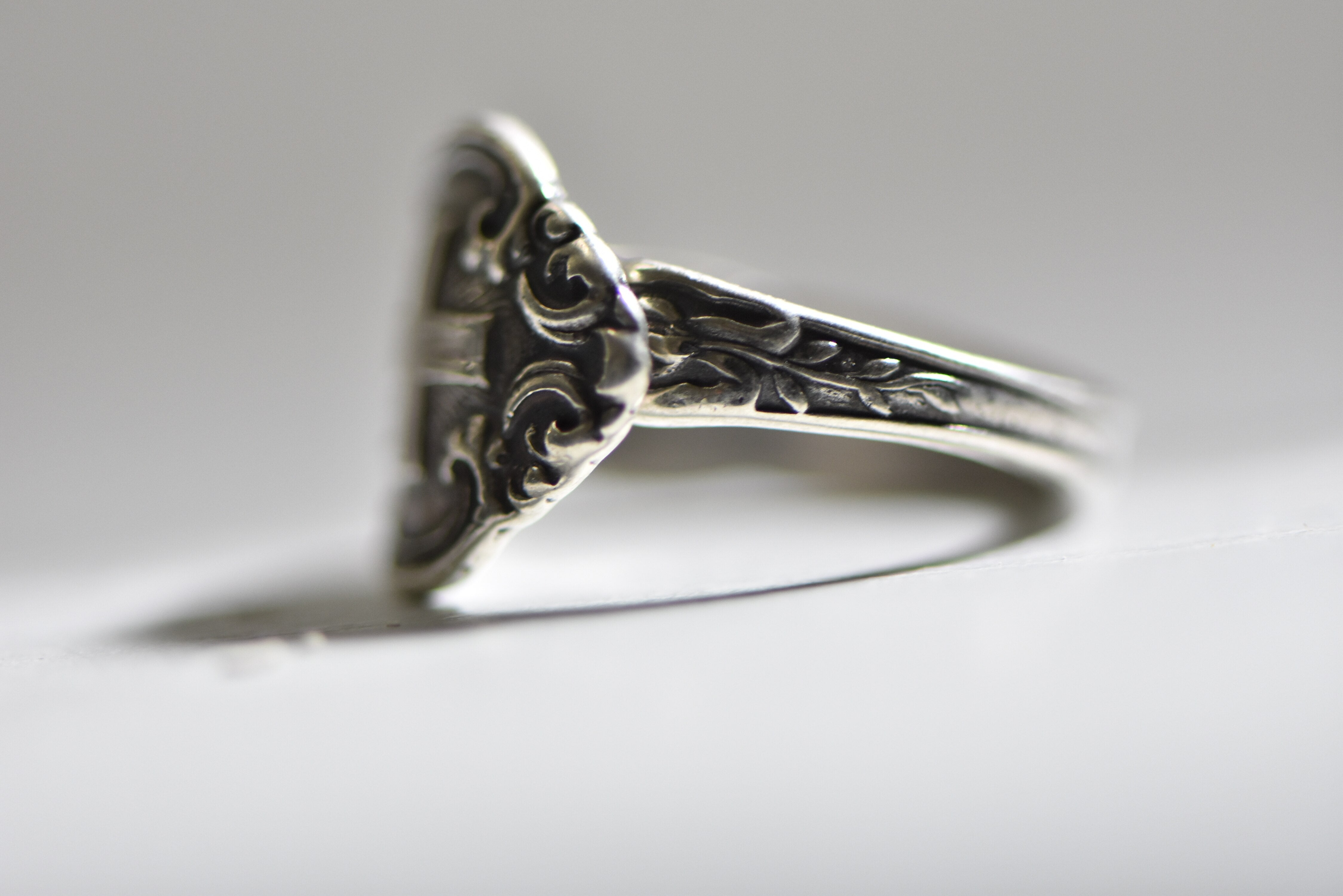 Spoon ring fox band floral sterling silver women girls size 7.25