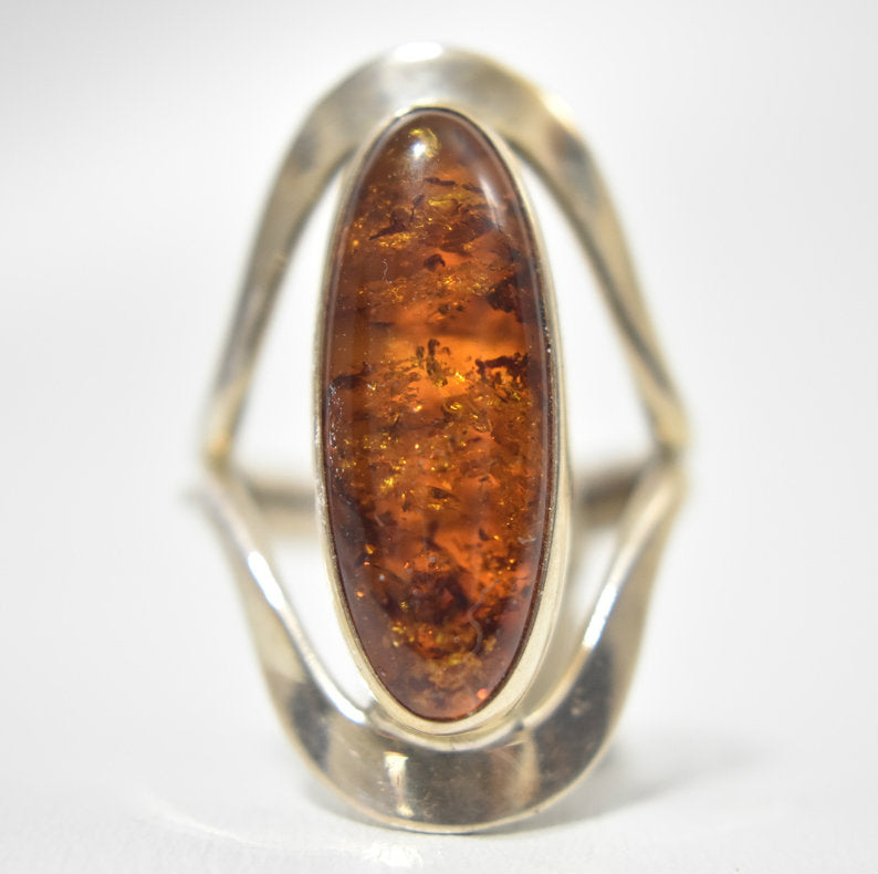 Mexican Amber Ring Made With Coin Silver|Hand Made