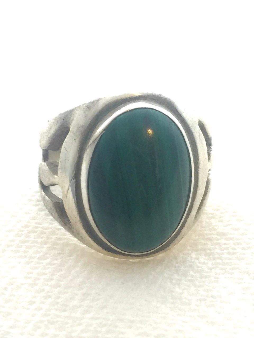 Vintage silver and malachite ring.