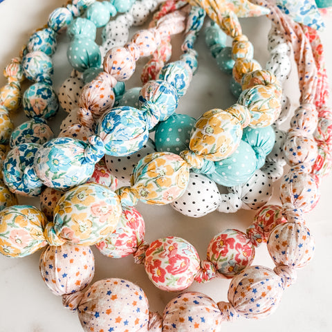 Girls Fabric Bead Necklace