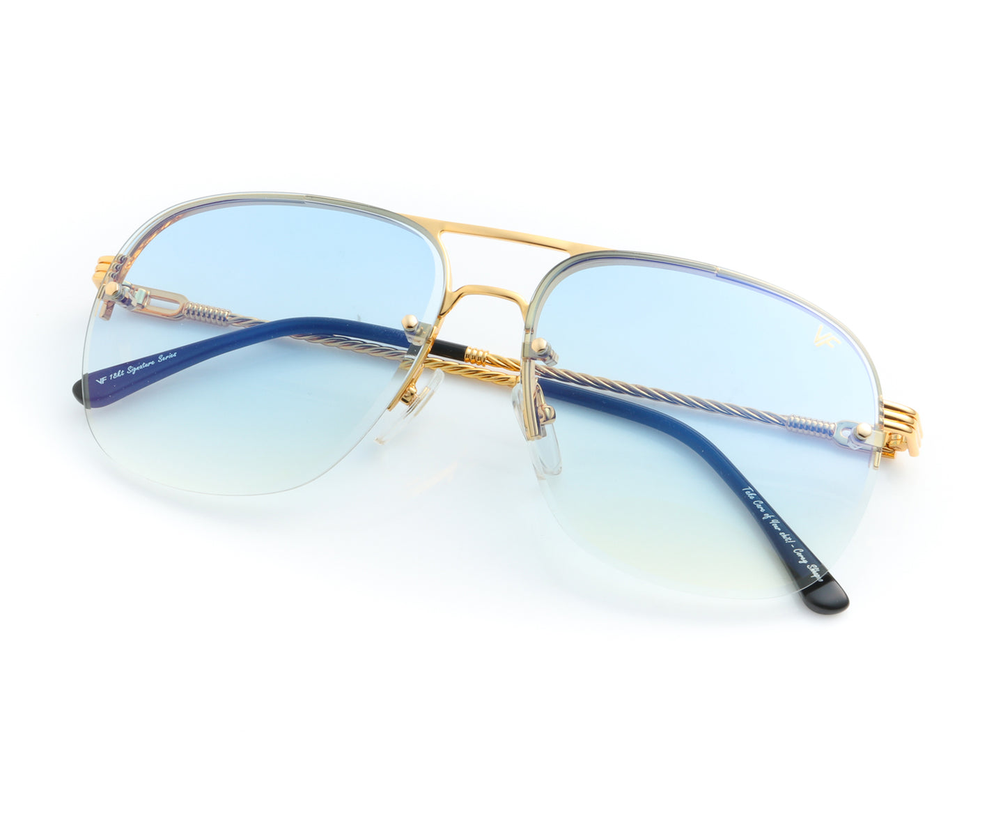 Snatch Bevel 18KT Drill Mount Gold (Pastel Blue), VF Drill Mount , glasses frames, eyeglasses online, eyeglass frames, mens glasses, womens glasses, buy glasses online, designer eyeglasses, vintage sunglasses, retro sunglasses, vintage glasses, sunglass, eyeglass, glasses, lens, vintage frames company, vf