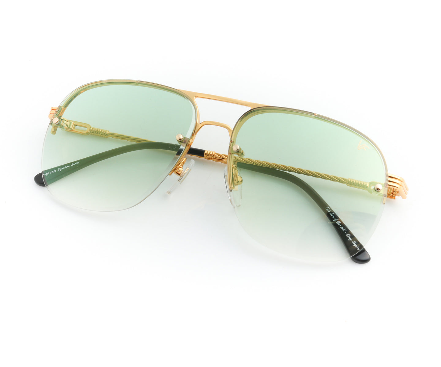 Snatch Bevel 18KT Drill Mount Gold (Pastel Green), VF Drill Mount , glasses frames, eyeglasses online, eyeglass frames, mens glasses, womens glasses, buy glasses online, designer eyeglasses, vintage sunglasses, retro sunglasses, vintage glasses, sunglass, eyeglass, glasses, lens, vintage frames company, vf