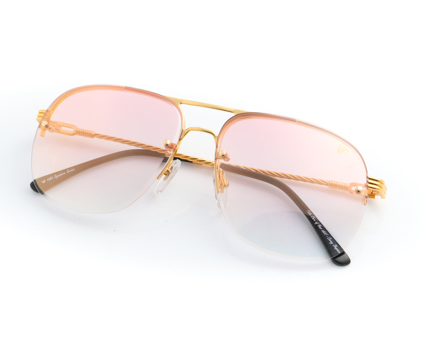 Snatch Bevel 18KT Drill Mount Gold (Pastel Pink), VF Drill Mount , glasses frames, eyeglasses online, eyeglass frames, mens glasses, womens glasses, buy glasses online, designer eyeglasses, vintage sunglasses, retro sunglasses, vintage glasses, sunglass, eyeglass, glasses, lens, vintage frames company, vf