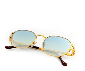 VF Legend 18KT Gold (Sky Blue), VF Masterpiece, vintage frames, vintage frame, vintage sunglasses, vintage glasses, retro sunglasses, retro glasses, vintage glasses, vintage designer sunglasses, vintage design glasses, eyeglass frames, glasses frames, sunglass frames, sunglass, eyeglass, glasses, lens, jewelry, vintage frames company, vf