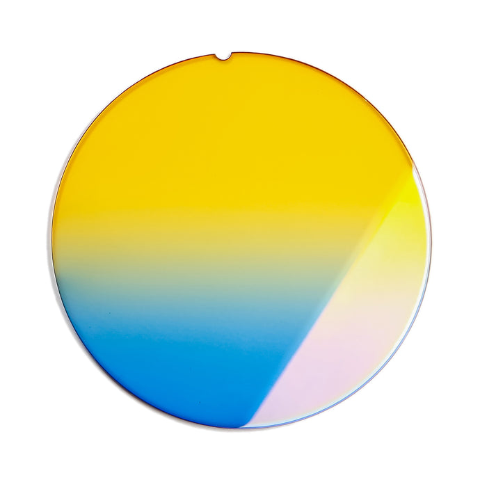 206 - Yellow Blue Gradient Flat Flash Gold Lens