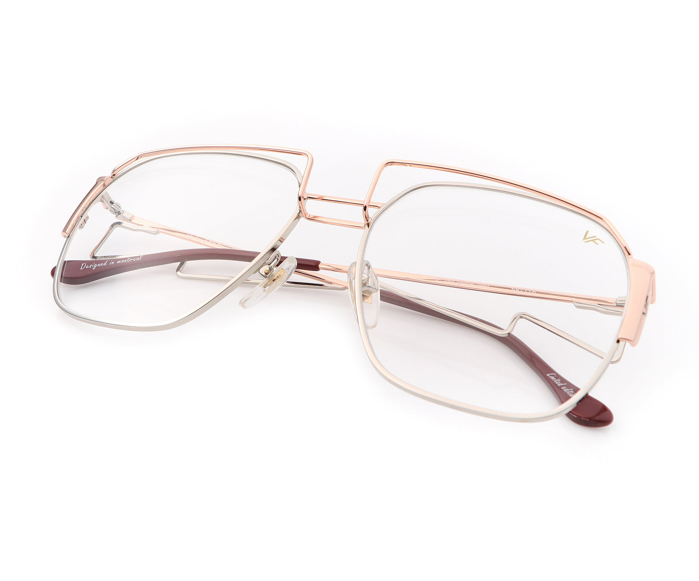 Geometric Collection: Executive 24KT Rose Gold Two-Tone (Clear), VF Masterpiece , glasses frames, eyeglasses online, eyeglass frames, mens glasses, womens glasses, buy glasses online, designer eyeglasses, vintage sunglasses, retro sunglasses, vintage glasses, sunglass, eyeglass, glasses, lens, vintage frames company, vf