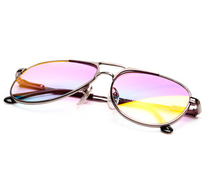 VF by Vintage Frames Grand Master Snatch Drip Platinum (Candy Pink Gradient Yellow Multi Lens)