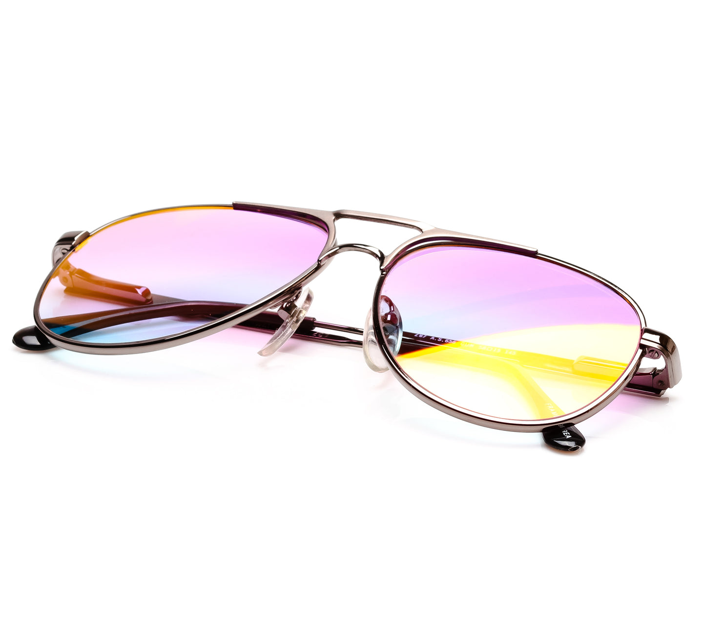 VF by Vintage Frames Grand Master Snatch Drip Platinum (Candy Pink Gradient Yellow Multi Lens) Thumbnail