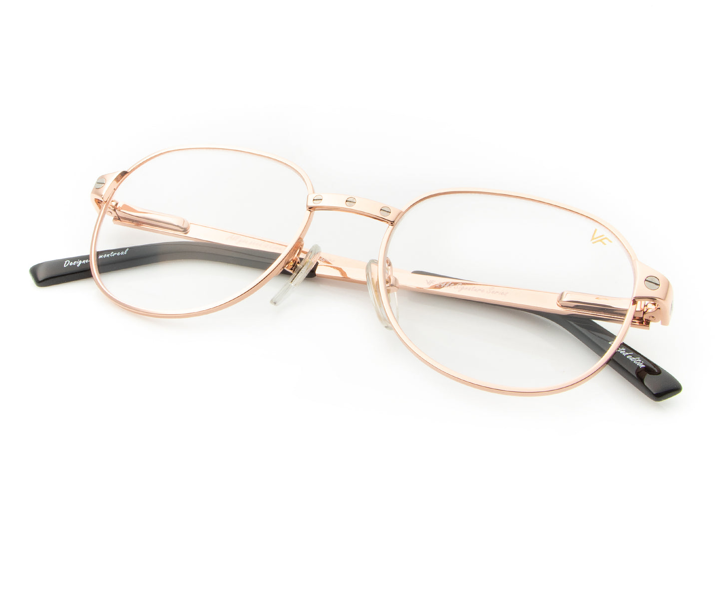 Love Collection: Detroit Player 2 24KT Rose Gold (Clear), VF Masterpiece , glasses frames, eyeglasses online, eyeglass frames, mens glasses, womens glasses, buy glasses online, designer eyeglasses, vintage sunglasses, retro sunglasses, vintage glasses, sunglass, eyeglass, glasses, lens, vintage frames company, vf