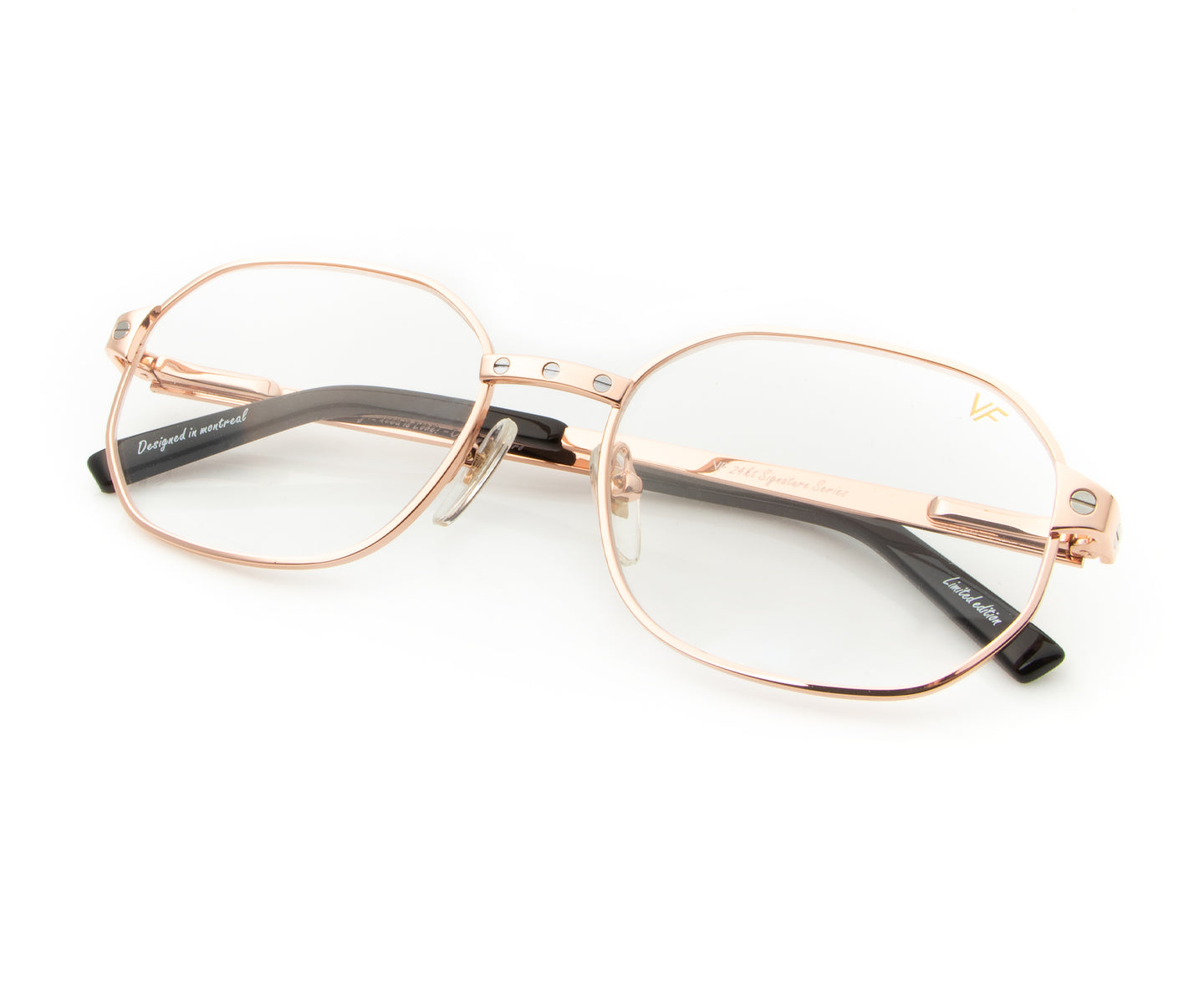 Love Collection: Hustler 24KT Rose Gold (Clear), VF Masterpiece , glasses frames, eyeglasses online, eyeglass frames, mens glasses, womens glasses, buy glasses online, designer eyeglasses, vintage sunglasses, retro sunglasses, vintage glasses, sunglass, eyeglass, glasses, lens, vintage frames company, vf