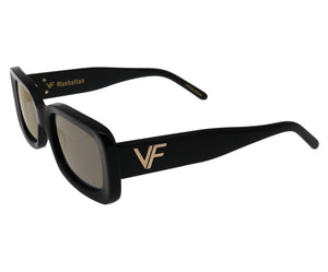 VF Manhattan Black (Gold Flash Mirror), lens, vintage lens, clear lens, lens frames, lens frame, circle lens, mens glasses, womens glasses, lens width, vintage frames company, vf