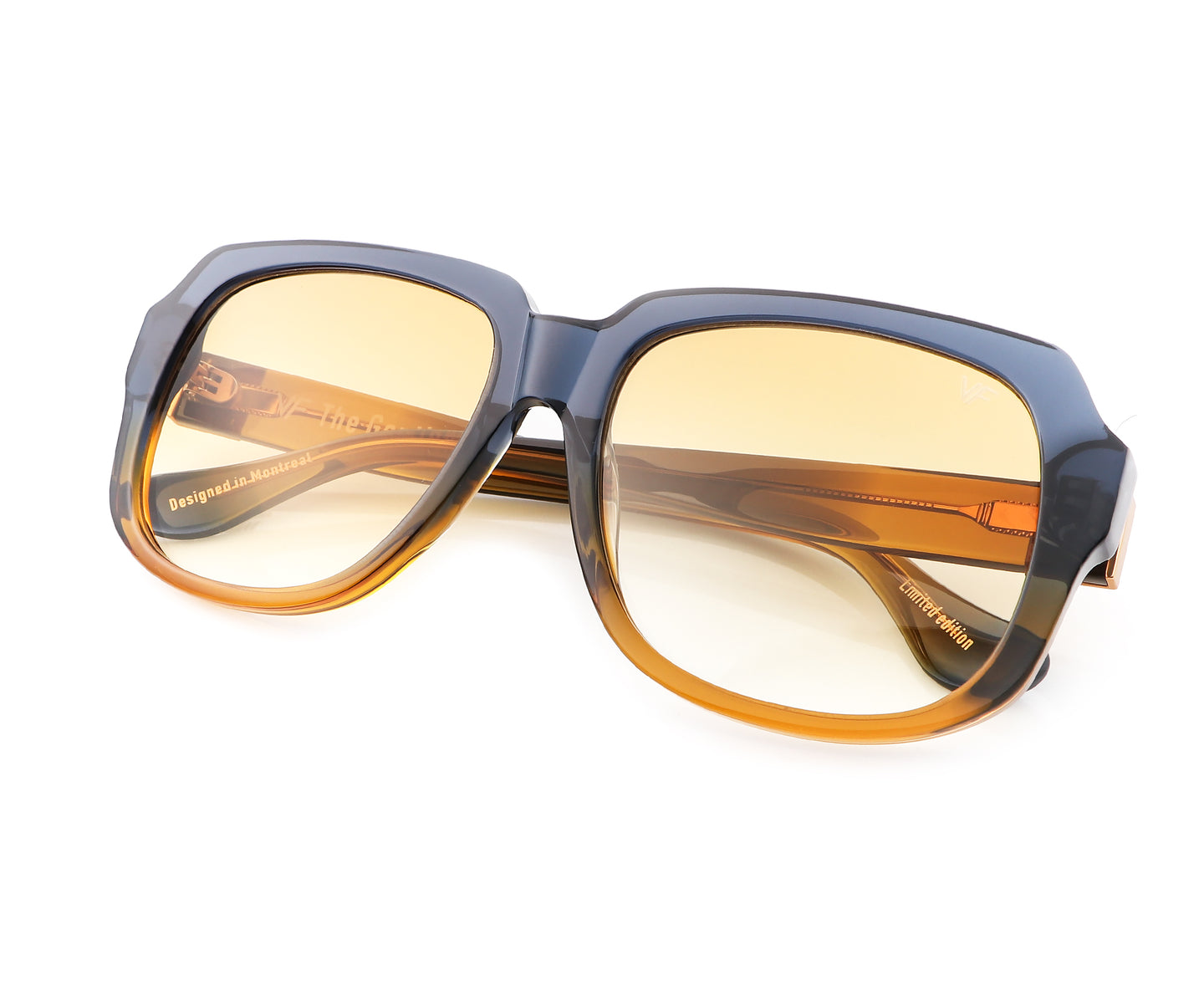 VF Gentleman Blue & Brown Acetate (Yellow Brown Gradient), VF Masterpiece , glasses frames, eyeglasses online, eyeglass frames, mens glasses, womens glasses, buy glasses online, designer eyeglasses, vintage sunglasses, retro sunglasses, vintage glasses, sunglass, eyeglass, glasses, lens, vintage frames company, vf