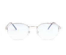 VF Detroit Player Half Rim 18KT White Gold (Gray Flash Silver) Front, VF by Vintage Frames, glasses frames, eyeglasses online, eyeglass frames, mens glasses, womens glasses, buy glasses online, designer eyeglasses, vintage sunglasses, retro sunglasses, vintage glasses, sunglass, eyeglass, glasses, lens, vintage frames company, vf