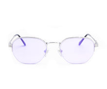 VF Detroit Player Half Rim 18KT White Gold (Smoke Flash Purple) Front, VF by Vintage Frames, glasses frames, eyeglasses online, eyeglass frames, mens glasses, womens glasses, buy glasses online, designer eyeglasses, vintage sunglasses, retro sunglasses, vintage glasses, sunglass, eyeglass, glasses, lens, vintage frames company, vf