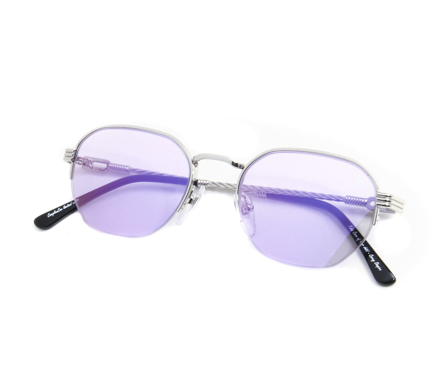 VF Detroit Player Half Rim 18KT White Gold (Smoke Flash Purple) Thumb, VF by Vintage Frames , glasses frames, eyeglasses online, eyeglass frames, mens glasses, womens glasses, buy glasses online, designer eyeglasses, vintage sunglasses, retro sunglasses, vintage glasses, sunglass, eyeglass, glasses, lens, vintage frames company, vf