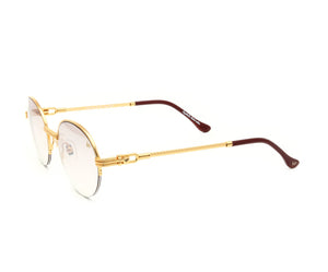 VF 508 Half Rim 18KT Gold (Brown Smoke) Side, VF by Vintage Frames, glasses frames, eyeglasses online, eyeglass frames, mens glasses, womens glasses, buy glasses online, designer eyeglasses, vintage sunglasses, retro sunglasses, vintage glasses, sunglass, eyeglass, glasses, lens, vintage frames company, vf