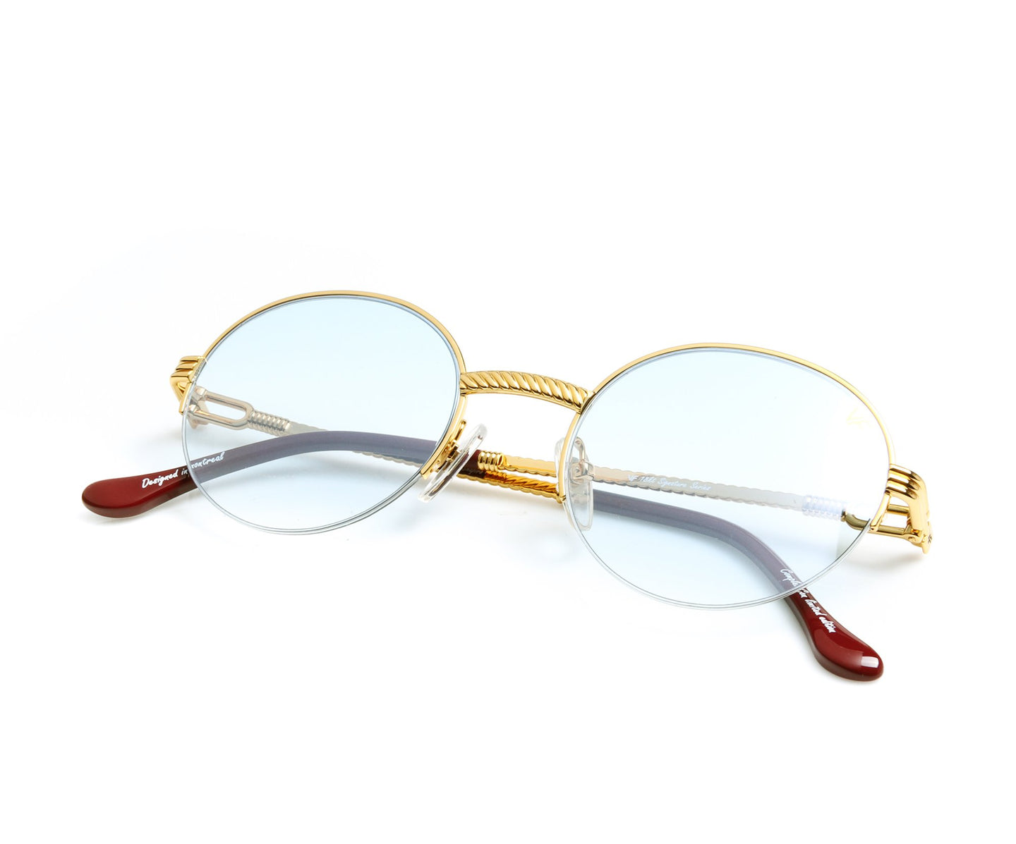 VF 508 Half Rim 18KT Gold (Tiffany Blue) Front, VF by Vintage Frames , glasses frames, eyeglasses online, eyeglass frames, mens glasses, womens glasses, buy glasses online, designer eyeglasses, vintage sunglasses, retro sunglasses, vintage glasses, sunglass, eyeglass, glasses, lens, vintage frames company, vf