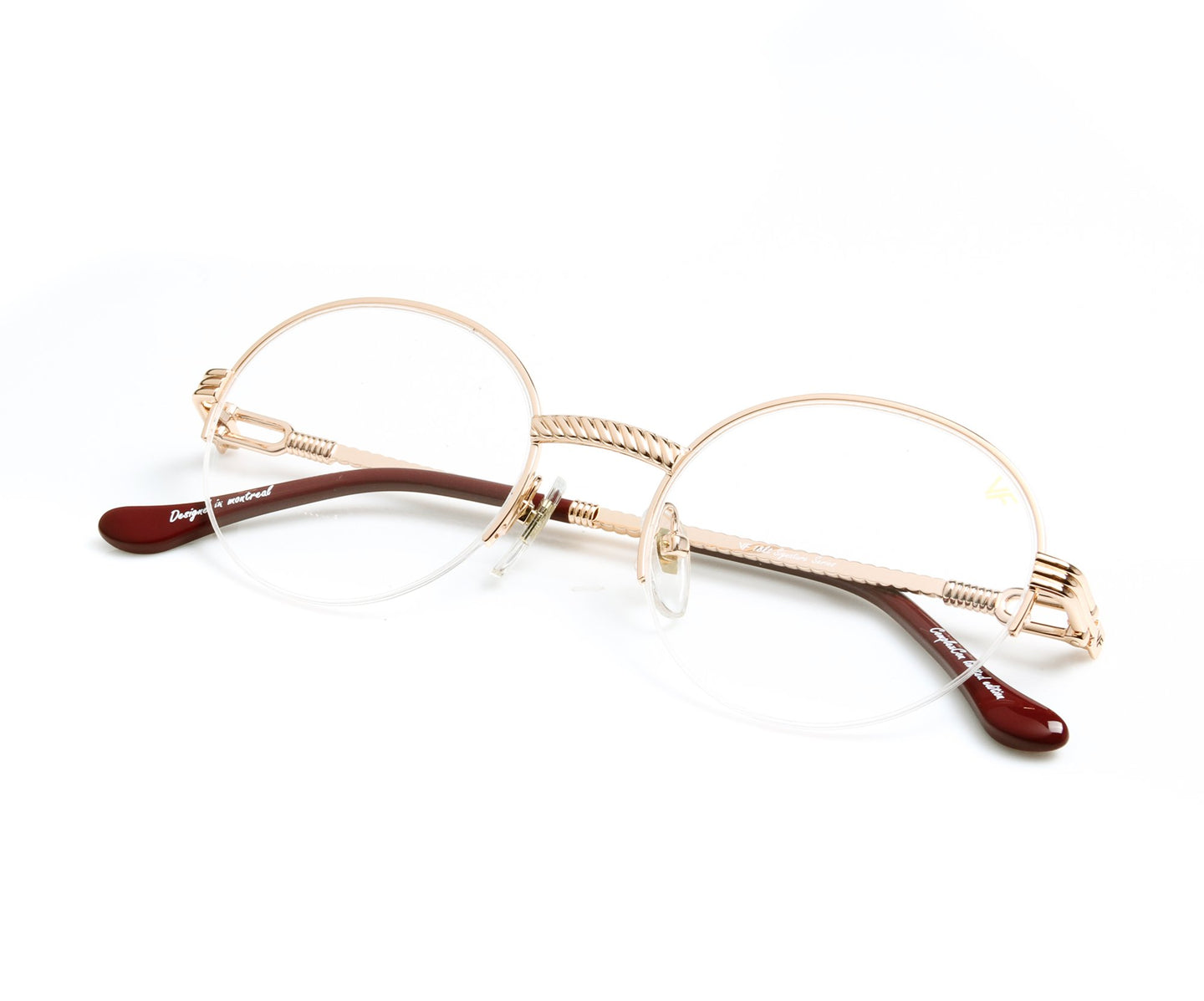 VF 508 Half Rim 18KT Rose Gold (Clear Lens) Thumb, VF by Vintage Frames , glasses frames, eyeglasses online, eyeglass frames, mens glasses, womens glasses, buy glasses online, designer eyeglasses, vintage sunglasses, retro sunglasses, vintage glasses, sunglass, eyeglass, glasses, lens, vintage frames company, vf