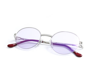 VF 508 Half Rim 18KT White Gold (Smoke Flash Purple) Thumbnail, VF by Vintage Frames, glasses frames, eyeglasses online, eyeglass frames, mens glasses, womens glasses, buy glasses online, designer eyeglasses, vintage sunglasses, retro sunglasses, vintage glasses, sunglass, eyeglass, glasses, lens, vintage frames company, vf