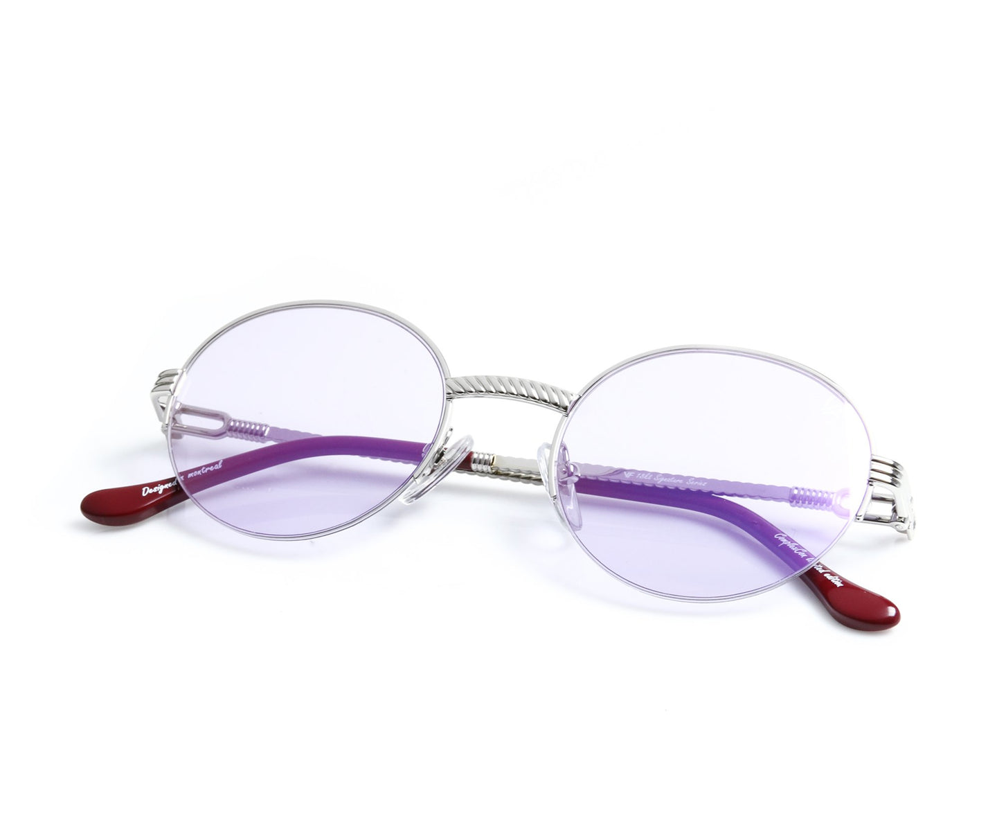 VF 508 Half Rim 18KT White Gold (Smoke Flash Purple) Thumbnail, VF by Vintage Frames , glasses frames, eyeglasses online, eyeglass frames, mens glasses, womens glasses, buy glasses online, designer eyeglasses, vintage sunglasses, retro sunglasses, vintage glasses, sunglass, eyeglass, glasses, lens, vintage frames company, vf