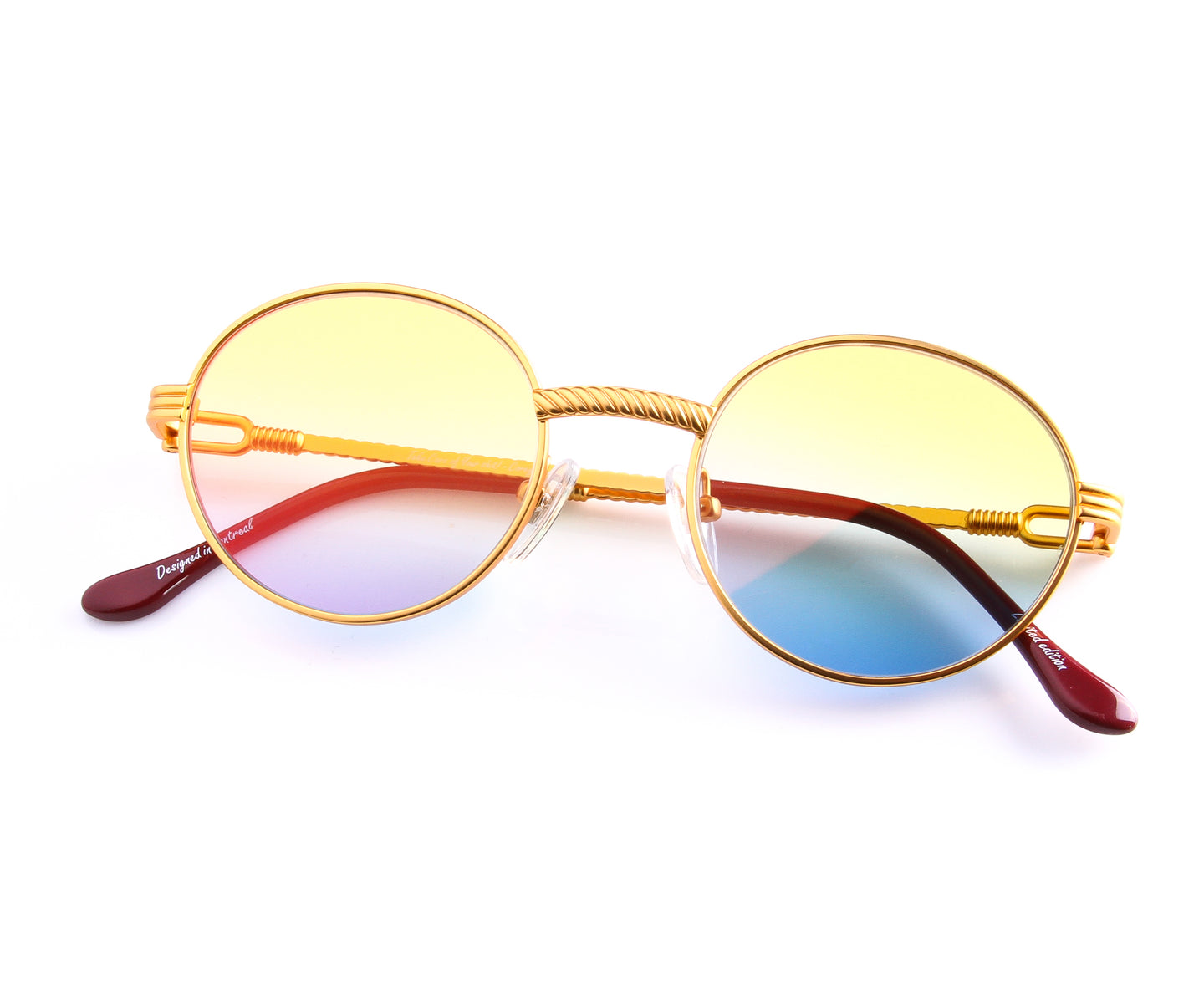 VF 508 18KT Satin Gold (Yellow / Blue), VF by Vintage Frames , glasses frames, eyeglasses online, eyeglass frames, mens glasses, womens glasses, buy glasses online, designer eyeglasses, vintage sunglasses, retro sunglasses, vintage glasses, sunglass, eyeglass, glasses, lens, vintage frames company, vf