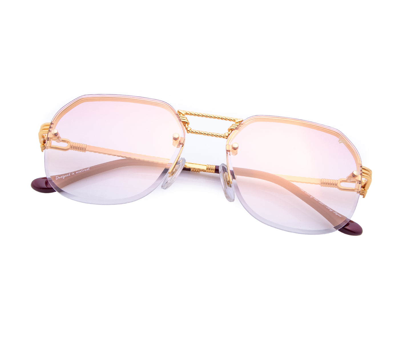 CEO Bevel Drill Mount 18KT Gold (Pastel Pink), VF Drill Mount , glasses frames, eyeglasses online, eyeglass frames, mens glasses, womens glasses, buy glasses online, designer eyeglasses, vintage sunglasses, retro sunglasses, vintage glasses, sunglass, eyeglass, glasses, lens, vintage frames company, vf