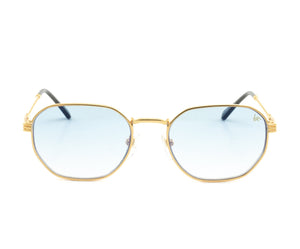 VF Detroit Player 18KT Gold (Sky Blue) Front, VF by Vintage Frames, glasses frames, eyeglasses online, eyeglass frames, mens glasses, womens glasses, buy glasses online, designer eyeglasses, vintage sunglasses, retro sunglasses, vintage glasses, sunglass, eyeglass, glasses, lens, vintage frames company, vf