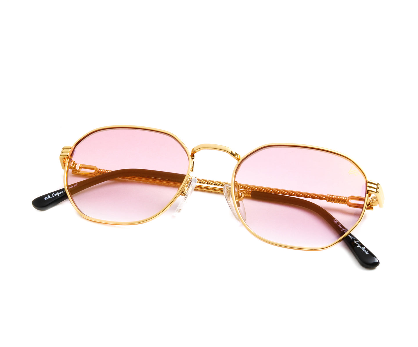 VF Detroit Player 18KT Gold (Pink Pop), VF by Vintage Frames , glasses frames, eyeglasses online, eyeglass frames, mens glasses, womens glasses, buy glasses online, designer eyeglasses, vintage sunglasses, retro sunglasses, vintage glasses, sunglass, eyeglass, glasses, lens, vintage frames company, vf