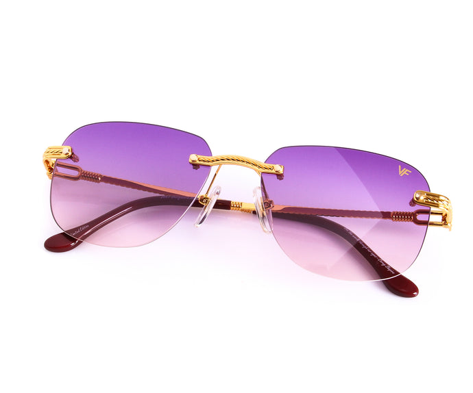 VF Hustler Drill Mount 24KT Gold (Purple), VF Drill Mount, vintage frames, vintage frame, vintage sunglasses, vintage glasses, retro sunglasses, retro glasses, vintage glasses, vintage designer sunglasses, vintage design glasses, eyeglass frames, glasses frames, sunglass frames, sunglass, eyeglass, glasses, lens, jewelry, vintage frames company, vf