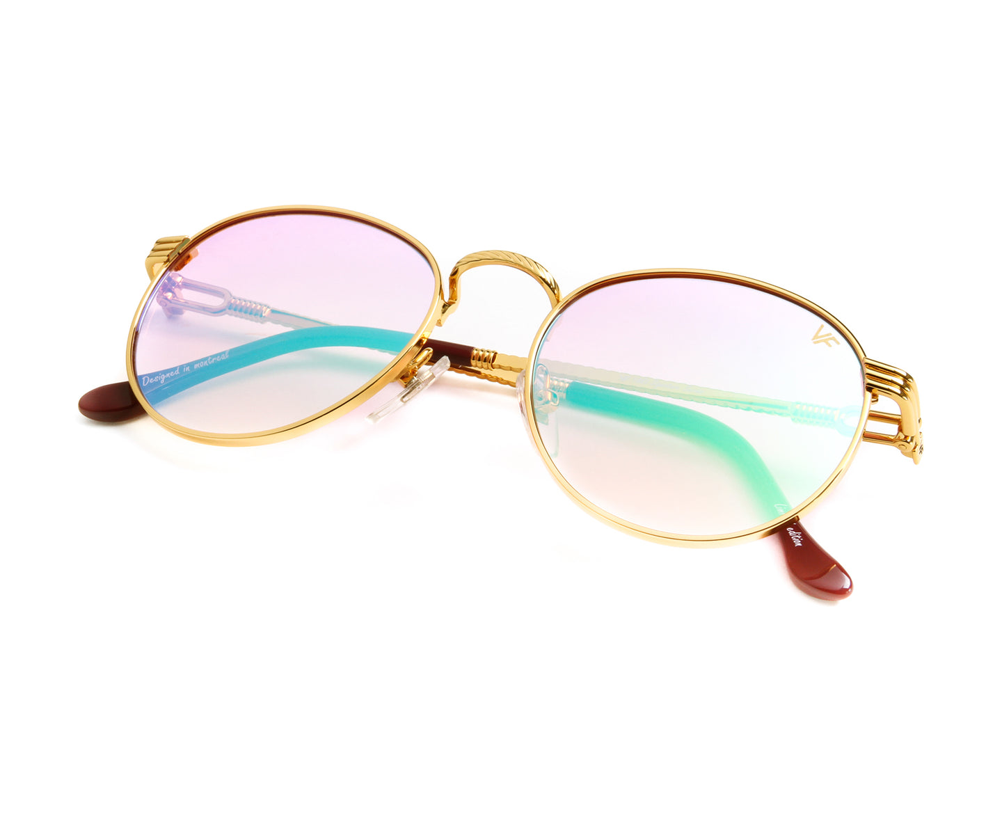 VF Miami Vice 18KT Gold (Candy Pink), VF by Vintage Frames , glasses frames, eyeglasses online, eyeglass frames, mens glasses, womens glasses, buy glasses online, designer eyeglasses, vintage sunglasses, retro sunglasses, vintage glasses, sunglass, eyeglass, glasses, lens, vintage frames company, vf