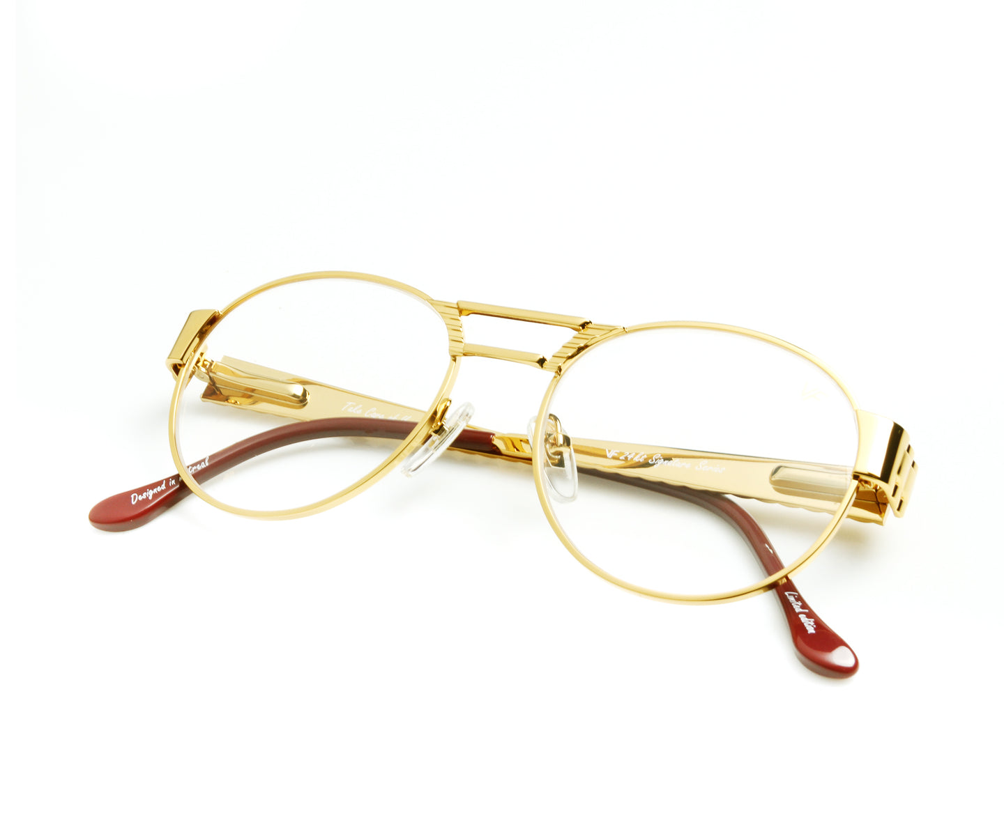 VF Jubilee 24KT Gold (Clear) Thumb, VF Masterpiece , glasses frames, eyeglasses online, eyeglass frames, mens glasses, womens glasses, buy glasses online, designer eyeglasses, vintage sunglasses, retro sunglasses, vintage glasses, sunglass, eyeglass, glasses, lens, vintage frames company, vf