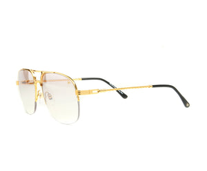 VF Snatch Half Rim 18KT Gold (Brown Smoke) Side, VF by Vintage Frames, glasses frames, eyeglasses online, eyeglass frames, mens glasses, womens glasses, buy glasses online, designer eyeglasses, vintage sunglasses, retro sunglasses, vintage glasses, sunglass, eyeglass, glasses, lens, vintage frames company, vf