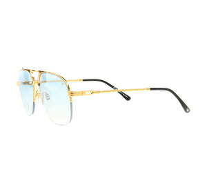VF Snatch Half Rim 18KT Gold (Tiffany Blue) Side, VF by Vintage Frames, glasses frames, eyeglasses online, eyeglass frames, mens glasses, womens glasses, buy glasses online, designer eyeglasses, vintage sunglasses, retro sunglasses, vintage glasses, sunglass, eyeglass, glasses, lens, vintage frames company, vf