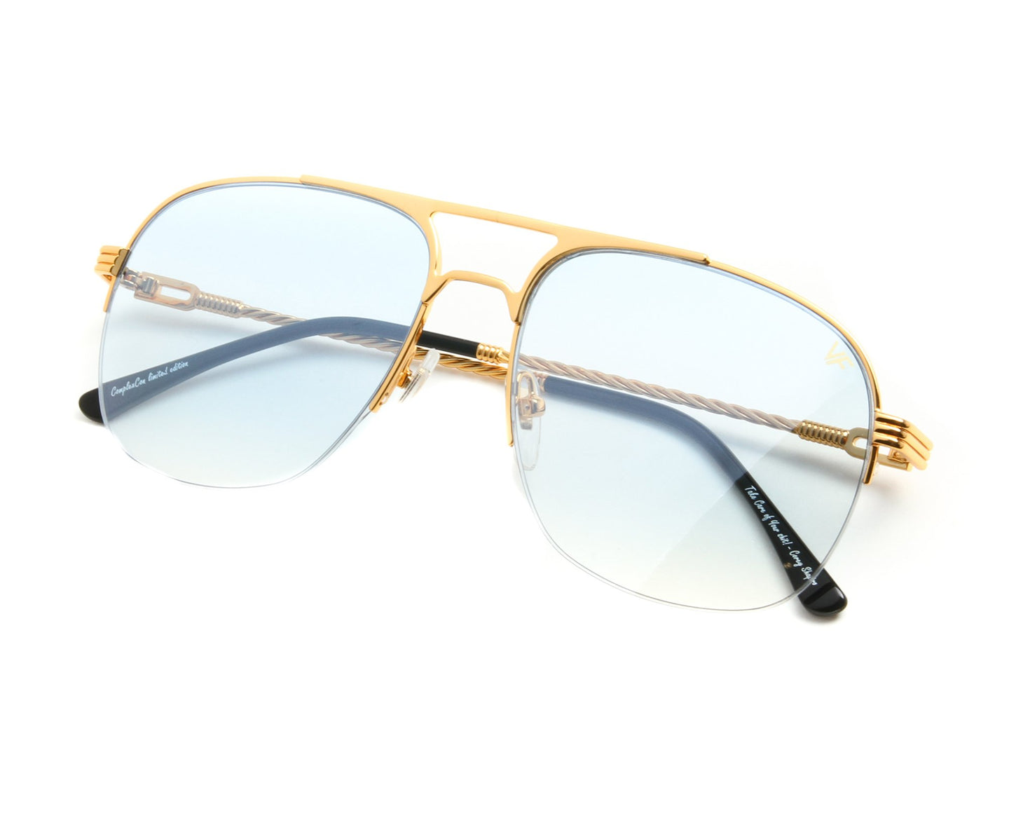 VF Snatch Half Rim 18KT Gold (Tiffany Blue) Thumb, VF by Vintage Frames , glasses frames, eyeglasses online, eyeglass frames, mens glasses, womens glasses, buy glasses online, designer eyeglasses, vintage sunglasses, retro sunglasses, vintage glasses, sunglass, eyeglass, glasses, lens, vintage frames company, vf