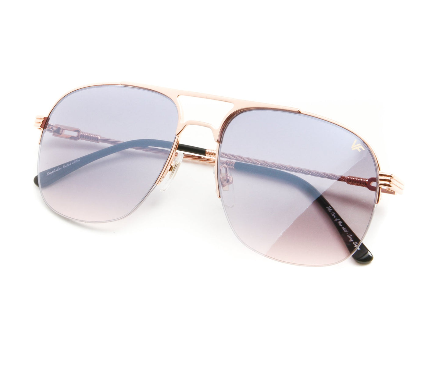 VF Snatch Half Rim 18KT Rose Gold (Black / Pink) Thumb, VF by Vintage Frames , glasses frames, eyeglasses online, eyeglass frames, mens glasses, womens glasses, buy glasses online, designer eyeglasses, vintage sunglasses, retro sunglasses, vintage glasses, sunglass, eyeglass, glasses, lens, vintage frames company, vf