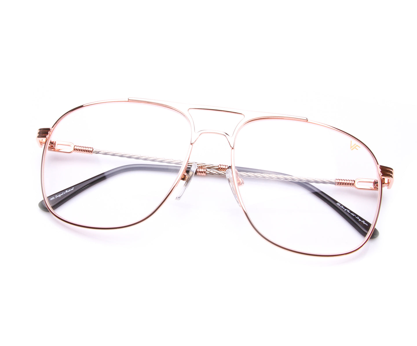 VF Snatch 18KT Rose Gold Two-Tone Signature Edition (Clear), VF by Vintage Frames , glasses frames, eyeglasses online, eyeglass frames, mens glasses, womens glasses, buy glasses online, designer eyeglasses, vintage sunglasses, retro sunglasses, vintage glasses, sunglass, eyeglass, glasses, lens, vintage frames company, vf