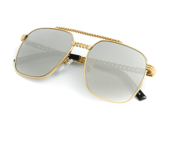 VF Cuban Link XL 24KT Gold (Dark Gray Mirror) Thumb, VF Masterpiece, vintage frames, vintage frame, vintage sunglasses, vintage glasses, retro sunglasses, retro glasses, vintage glasses, vintage designer sunglasses, vintage design glasses, eyeglass frames, glasses frames, sunglass frames, sunglass, eyeglass, glasses, lens, jewelry, vintage frames company, vf