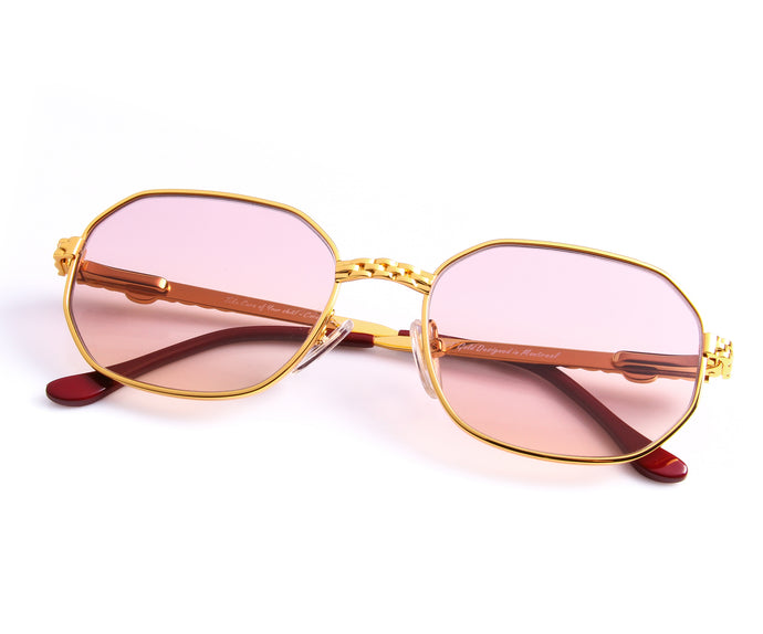 VF Hustler 24KT Gold Masterpiece (Pink / Yellow), VF Masterpiece, vintage frames, vintage frame, vintage sunglasses, vintage glasses, retro sunglasses, retro glasses, vintage glasses, vintage designer sunglasses, vintage design glasses, eyeglass frames, glasses frames, sunglass frames, sunglass, eyeglass, glasses, lens, jewelry, vintage frames company, vf