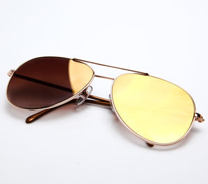 VF by Vintage Frames Scarface (Brown Gradient Flash Gold Flat Lens )