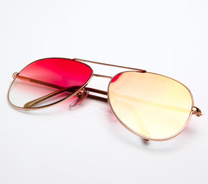 VF by Vintage Frames Scarface (Red Gradient Flash Gold Flat Lens )