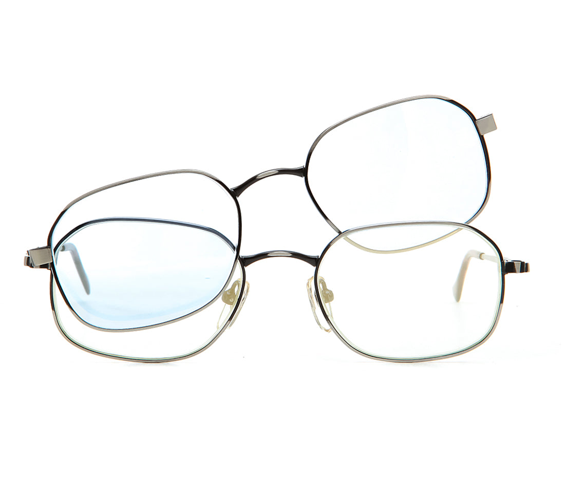 4eyes (Clear Flash Gold / Light Blue) Front, lens, vintage lens, clear lens, lens frames, lens frame, circle lens, mens glasses, womens glasses, lens width, vintage frames company, vf