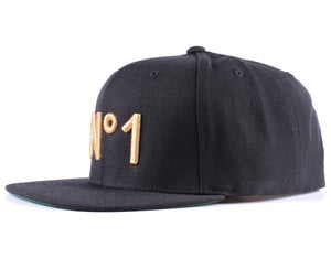 Vintage Frames Company N#1 Embroidered Black/Gold Snapback Side