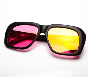Ultra Goliath Matte Black Red Flash Gold Flat Lens