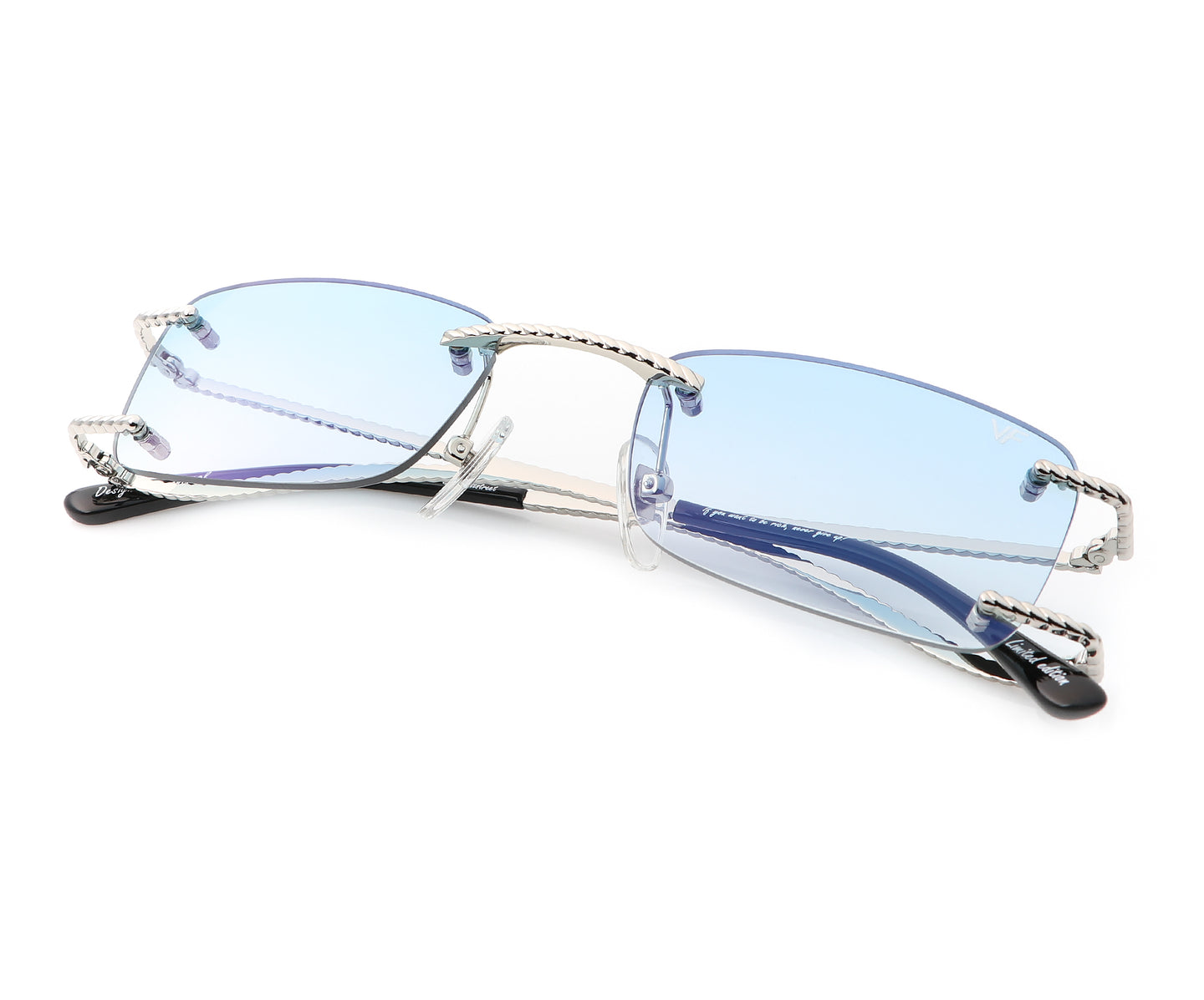VF Wall Street Drill Mount 24KT White Gold (Pastel Blue), VF Drill Mount , glasses frames, eyeglasses online, eyeglass frames, mens glasses, womens glasses, buy glasses online, designer eyeglasses, vintage sunglasses, retro sunglasses, vintage glasses, sunglass, eyeglass, glasses, lens, vintage frames company, vf