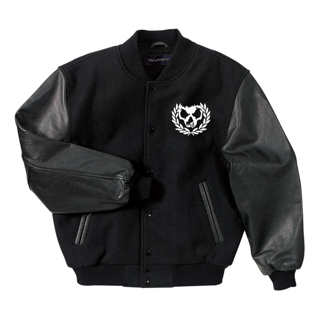* Skull Wreath Varsity Leather Sleeve Jacket