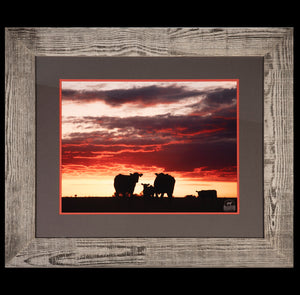 Sun Sets on the Farm - Natural Barnwood Frame