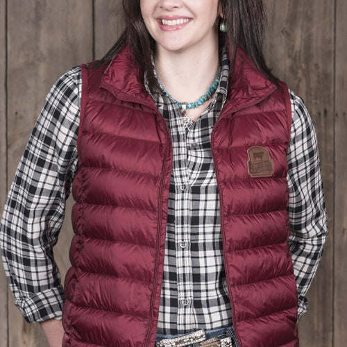 Puffer Down Vest - Cranberry