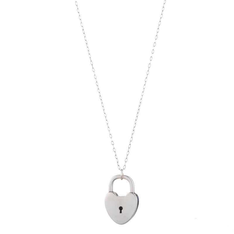 Vintage Sterling Silver Heart Lock Necklace